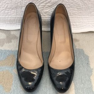 Black Patent Leather J. Crew wedges - size 11
